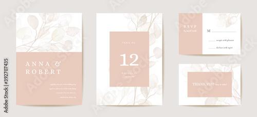Canvas Print Wedding dried honesty flower invitation card, vintage botanical Save the Date set