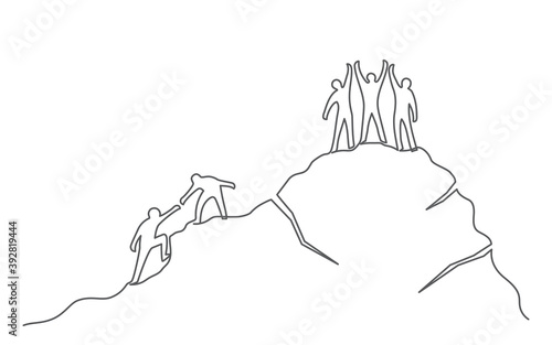 Fotografia, Obraz Group of people on the mountaintop One line drawing Business, teamwork, success,