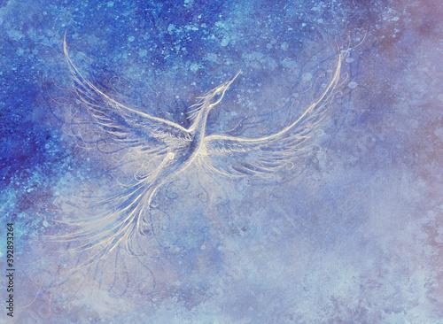 Stampa su Tela Flying phoenix bird as symbol of rebirth and new beginning.