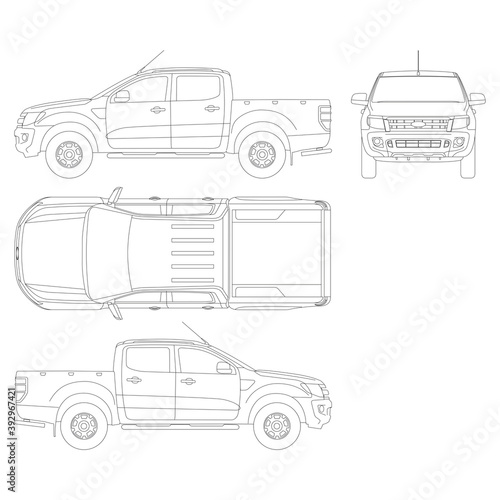 Canvas Print Pickup truck vector template