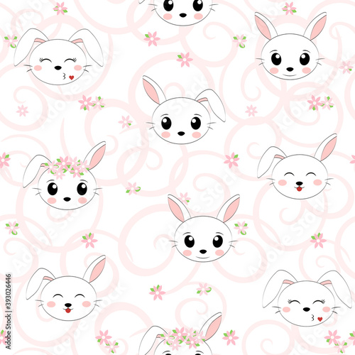 Simple pattern with a Bunny face with flowers on a white background. Vector illustration