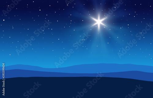 Obraz na plátně Blue Christmas Nativity desert setting background