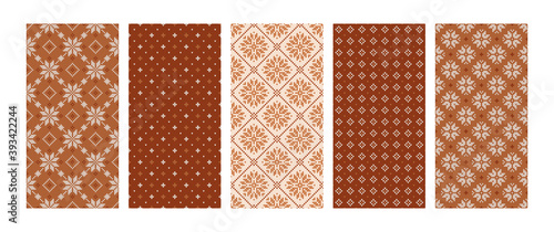 Fotografia, Obraz Scandinavian knitted seamless patterns set