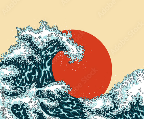 Fotografia, Obraz Vintage japanese engraving style great wave
