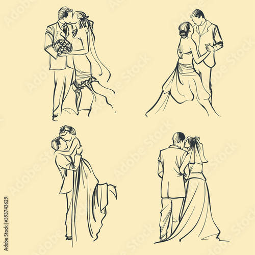 Canvas-taulu sketch of bride and groom