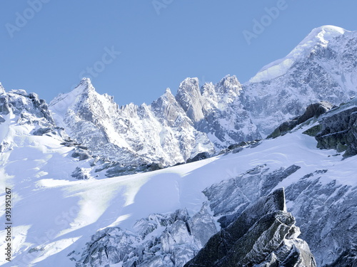 Some frozen moutains from the Grands Montets. A ski aera of Argentières near Chamonix. february 2020.