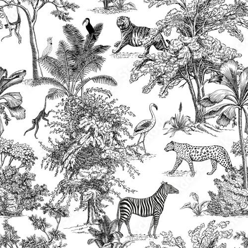Fototapeta premium Toile tropical animals, palms tree, vintage graphic seamless pattern. Zebra, leopard, flamingo, toucan, monkey botanical jungle.