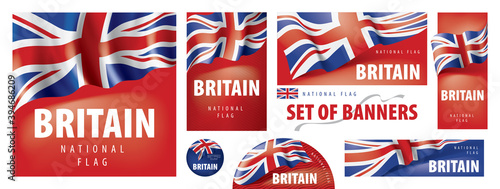 Canvas Print Vector set of banners with the national flag of the United Kingdom