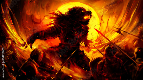 Fotografía A huge beast-man in the heat of battle fiercely crumples with clawed paws against the background of a rich yellow sun, he is surrounded by a human army of spearmen in armor