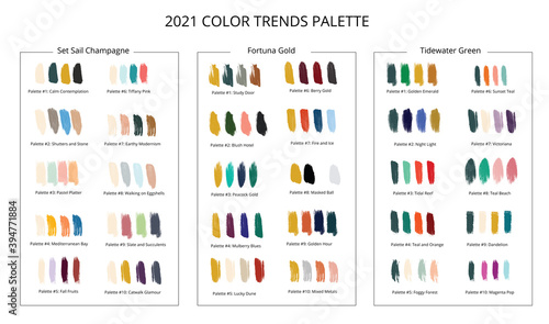Photo 2021 color trends palette on brush strokes