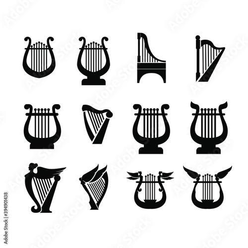 Obraz na plátne set collection luxury classic lyre harp type and shape vector icon flat design i