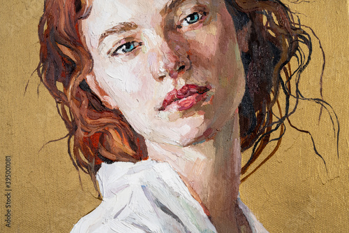 Oil painting. Portrait of a red-haired girl on a gold background. The art is done in a realistic manner.