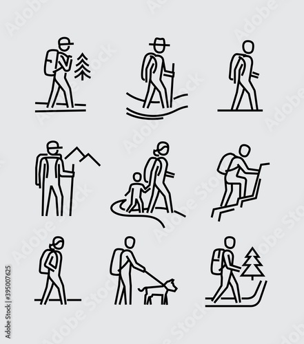 Photo Hiking People Vector Line Icons
