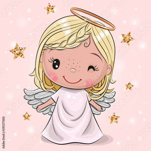 Fotografia Christmas angel on a pink background