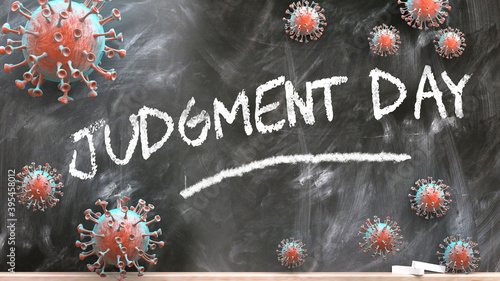 Canvas Print Judgment day and covid virus - pandemic turmoil and Judgment day pictured as cor