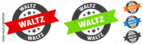 Canvas Print waltz stamp. waltz round ribbon sticker. tag