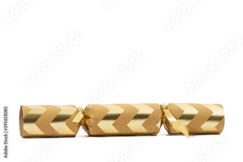 Vászonkép Close-up view of a festive Christmas cracker isolated against a white background
