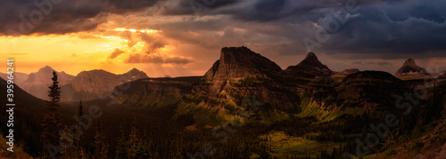 Fotografie, Obraz Beautiful Panoramic View of American Rocky Mountains during Cloudy Summer Sunset or Sunrise