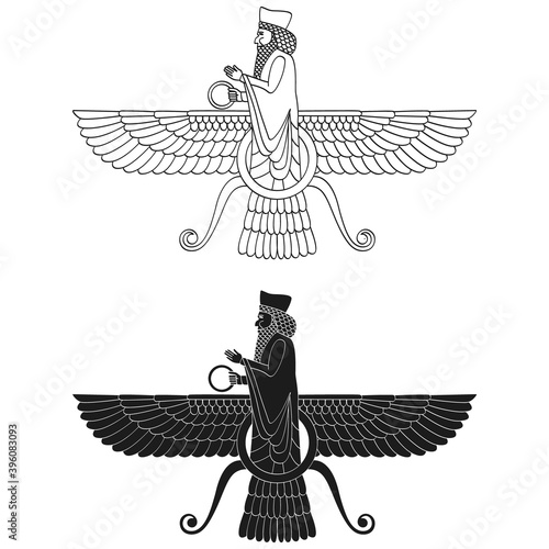 Fotografia vector monochrome icon with ancient egyptian symbol Faravahar for your project