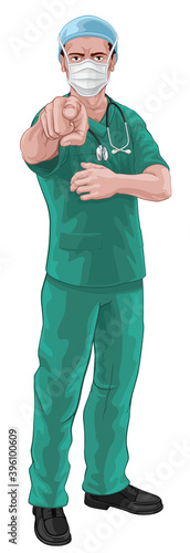 Wallpaper Mural A nurse or doctor in surgical or hospital scrubs and mask pointing in a your cou