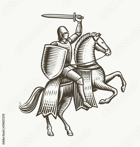 Knight on horseback. Medieval heraldry symbol vector illustration Fototapeta