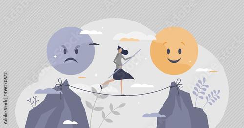 Emotional balance as choice good feeling over bad mood tiny person concept Fototapeta