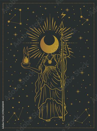 Fototapeta moon girl, goddess mystical symbol, tarot cards