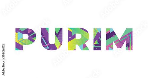 Photo Purim Concept Retro Colorful Word Art Illustration
