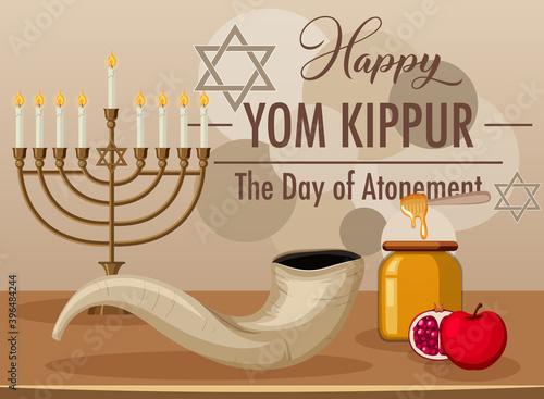 Photo Happy Yom Kippur banner with shofar