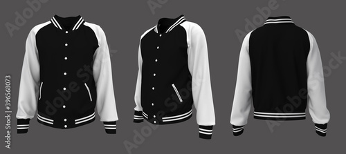 Photo Varsity Jacket mockup in front, side and back views