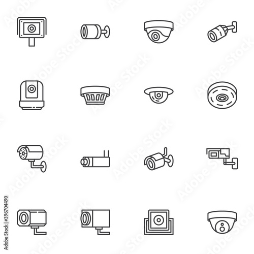 Foto Security camera line icons set, outline vector symbol collection, linear style pictogram pack