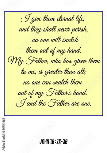 I give them eternal life, and they shall never perish; no one will snatch them out of my hand Fototapet