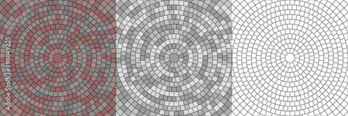 Wallpaper Mural Vector set of seamless round pavement textures with street tiles