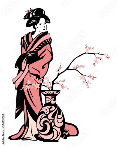 Fotografie, Obraz japanese geisha wearing traditional kimono clothes standing by vase with bloomin