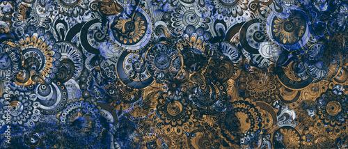 Fotografie, Obraz mandala colorful dark vintage art, ancient Indian vedic background design, old p