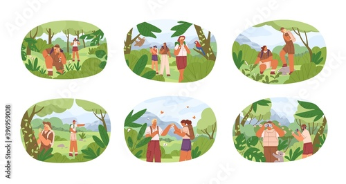 Stampa su Tela Set of different people exploring nature vector flat illustration