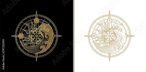 Obraz na płótnie Compass and waves in high tide, spiritual guidance tarot reader Colorful gradient design