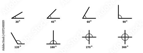 Fotografia, Obraz Degree angle icon set. Vector angles collection.
