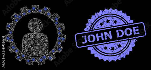 Photo Rubber John Doe Stamp and Bright Web Network Customer Setup Gear with Lightspots