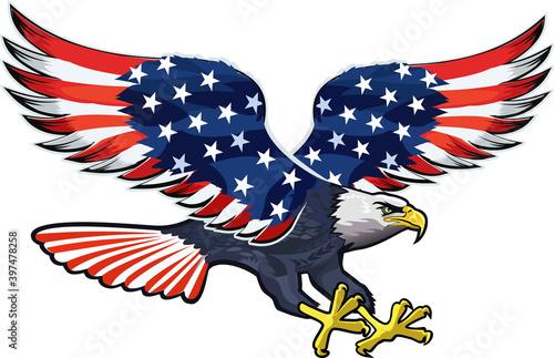 American eagle with USA flags Tapéta, Fotótapéta