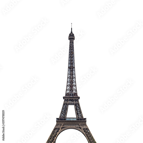 Stampa su Tela Eiffel Tower (Paris, France) isolated on white background