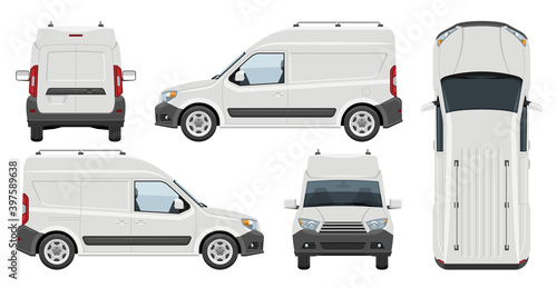 Photo White minivan vector template with simple colors without gradients and effects