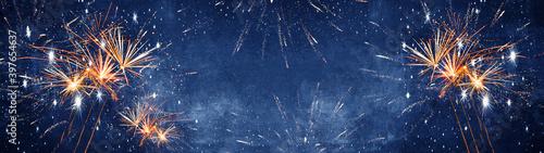 Canvastavla Silvester background banner panorama long- firework on rustic dark blue night sk