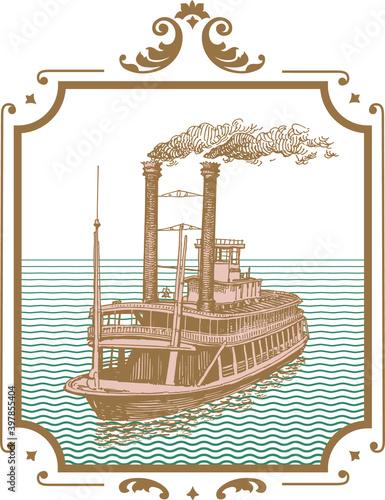 Wallpaper Mural vector image of old steamer misishippi in vintage postcard style
