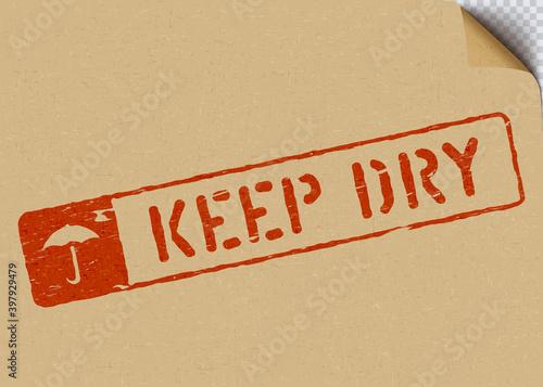 Billede på lærred keep dry grunge vector box sign with umbrella on craft paper