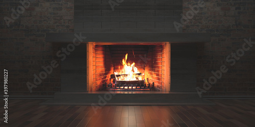 Canvas Print Burning fireplace, cozy home interior at christmas