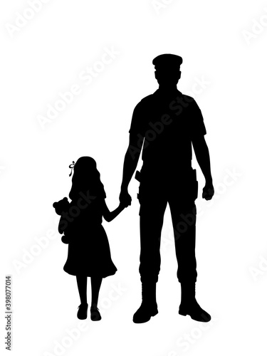 Wallpaper Mural Silhouette policeman finds child girl