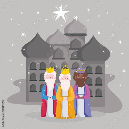 Fotomural happy epiphany, three wise kings city of bethlehem