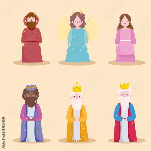Fotografia happy epiphany, three wise kings holy mary jospeh and angel