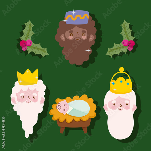 Fotografiet happy epiphany, three wise kings faces and baby jesus green background